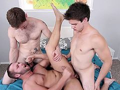 Dennis West always says, that he can handle two big dicks at a time. His friends, Luke Adams and Will Braun, decided to test him and he took one cock in mouth and asked another one, to stuff his tool in ass. After releasing their load, these two guys appreciated their common friend's unique talent.