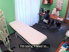 Yasmin goes into the fake hospital to get her pussy examined. She's complaining it is sore, but I'm sure you can guess a good reason why it's that way. The