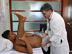 Gay Asian boy Josh pays a visit to Doctor Daddy Mike complaining of abdominal pain. But we all know this horny Asian gay boy just wants interracial gay sex with Doctor Daddy. And Daddy Mike is more than happy to administer his lustful treatment. After some anal probing with his fingers and a dildo, Doctor Daddy soothes his anal cavity with an enema. After evacuating the white liquid, Doctor Daddy treats him to a rim job.