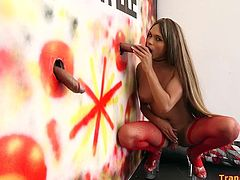 Before Sofia Obregon didn't like men's sperm, but when she tried it gloryhole style, she took a fancy for sperm. Look at that passion with which how she sucks that two huge black dicks, how she looks forward for catch every drop of cum.