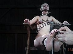 Sierra is bound to this chair, having something sharp on the armrests and a strap-on device designed to go on all the toes, making them very painful to move. She is in for the long haul on this session. Subscribe now, to see everything that happens to her!