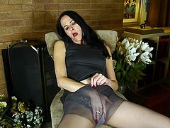 Natasha is feeling very horny today, so the best course of action to relieve her horniness, is to slide her elegant fingers down in pantyhose and rub her cunt. She will make the juices flow from her pussy, as she gets herself off.