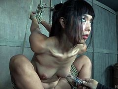 The master has tied up this cute Japanese babe and is using all his bdsm skills, to get her off. He begins by tying her up tightly, before using pump on her small breasts. Her nipples get nice and puffy.