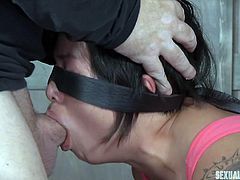 Dee Williams invited me to a party, but punished me sexually with her boyfriend, instead. They tied me to a bondage device, put ball gag in my mouth and blindfolded me. She inserted a strapon in my pussy from behind, and asked him to fuck my mouth brutally. They pinched my nipples and slapped my big round ass.