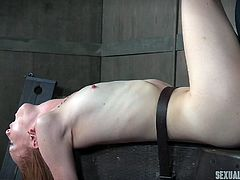 My neighbors pay me good amount for being their sex slave. They are the fans of bdsm, and they like to make sex rough and humiliating. They tie me on a bondage device and Dee fucks my pussy with the strapon. She stimulates my cunt, while Matt is busy drilling my ass hole.
