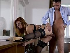 Stunningly hot redheaded secretary fucks her boss