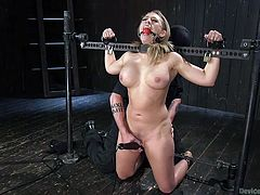 I would not refuse his proposal, if I knew, that he would do these brutal things to me. I was nude, tied to a bondage device and mouth gagged. He stimulated my pussy with vibrator and shoved his fingers inside. He pinched my nipples, slapped my big breasts and...