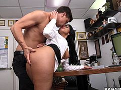 Selena is getting into the business, and here is her Bang Bros casting debut. The lovely Latina feels her pussy getting fingered and licked, and then she swings a leg on the counter, feeling her castmate's cock pounding her from behind.