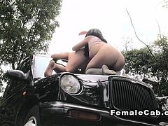 Promo babe licks female fake taxi driver