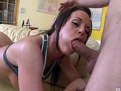 Sport milf Rahyndee gets her sweaty pussy licked and fucked