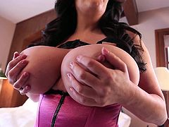 If you love pinup girls with big natural tits, wait till you see Antonella Kahllo! One glance at her gigantic pair of tits will make your cock become rock hard. Who wouldn't want to titty fuck this curvy vixen?! Trust us, they are so huge you could get lost in them!