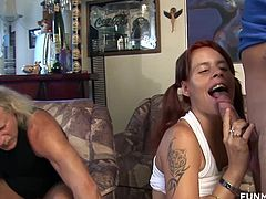 Young tiny redhead amateur sucks on an old guy and then takes on his son and his friends in a homemade German gangbang.