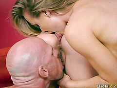 Blonde Nicole Aniston with big boobs offers her fuckable mouth to hard dicked Johnny Sins