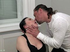 After my conversation and deal with Ilsa, she was feeling happy and I felt her warm breath on my neck. This aroused me and I started kissing her, to which she responded with tongue kissing. She unzipped my cock and started sucking it, while I was watching the magic of her beautiful lips.