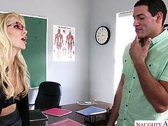 I had to stay after class with Miss Fires, which is torture. Not because I despise detention, but because she's so fucking hot! She knew what I wanted, and decided to teach me, how to satisfy an insatiable woman like her.