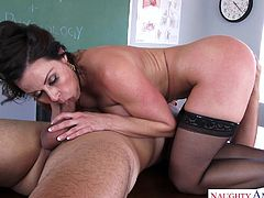 Tony had to stay after class with Mrs. Lust. He hasn't been taking anatomy seriously, and now she's showing him why it's so important. She teaches him, as she sucks and fucks, giving him the best lesson ever.