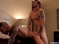 Get your air conditioning on, because this scene will make you sweat! Mark gets his fingers and tongue inside Damien's ass. This comes just before his stiff cock makes it in there as well. It's hot, deep, and nasty!