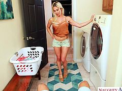I was watching my sexy blonde wife Rachel, as she did the laundry, and the way she put the clothes in the dryer, made me so horny. I needed to fuck her hard from behind right in the laundry room. She can do chores later, after she sucks my cock... Enjoy!