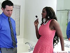 Busty ebony porn legend Diamond Foxx, loves white cock and today, she is going to fuck her best friend's husband. She had always desired a juicy white dick deep in her chocolate pussy. Her dream is fulfilled.