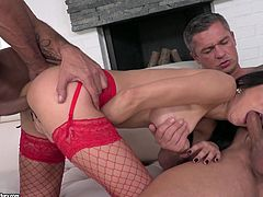 My wife is one of those ladies, who are passionate about sex. She told me, that she wanted to try double penetration, so I fucked her with my friend. My friend got the chance to drill her first. He inserted his cock in her ass hole, while she was sucking my hard penis. Then we fucked her hungry holes simultaneously.
