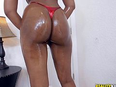 Tyler is a lucky guy, because today he gets to oil up the round and brown beautiful ass of sexy 18 year old cutie pie, Peyton Sweet. Her supple ebony skin glistens, as her booty gets covered in oil and, when she sucks cock, you can tell she is eager for cum.