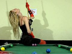 You will never look at this game the same again after seeing Laviny play some. This naughty tranny chick has a huge ladystick under her tight tiny dress. She loves to jerk it off and does...