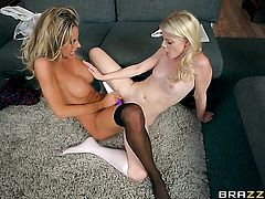 Blonde Charlotte Stokely with juicy boobs and Courtney Taylor are ready to rub each others wet spot day and night