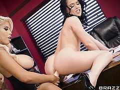 Blonde vixen Kristina Rose with gigantic melons shows off her sexy body as she gets her fuck hole licked out by lesbian Bridgette B