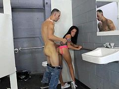 Visit official RK Network's HomepageOebedient brunette follows man into the toilet for a strong shag along plenty of inches to slide down her throat and in the end, cream her face with jizz