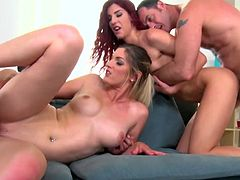 Girls on fire swapping cocks in excellent foursome adult play