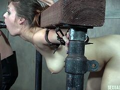 One day they brought me in their dungeon and humiliated me sexually. I was tied to a bondage device and all my clothes were torn. He was fucking my pussy from behind, spanking my ass, while she shoved the strapon in my mouth, and deepthroated me. Hard to forget... Must watch!