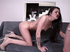 Brunette and her man fuck like rabbits in anal scene