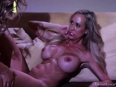 When this cute babe and the stunning milf Brandi Love get together, the sparks fly and the pussy juice drips. In 69, these alluring lesbians flick their tongues on each other's clits and get each other off. Brandi gets her lips and mouth all over Melissa's dripping wet snatch. What a hot sight!