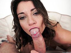 Brunette loves giving blowjob