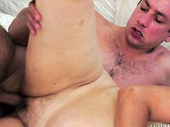 Blonde with massive breasts sucks like theres no tomorrow in steamy blowjob action with hot dude