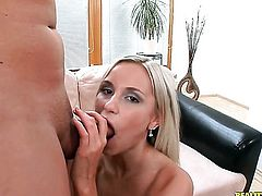 Blonde sweetie Lola gives the man some sexual pleasure with her hands