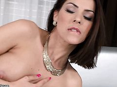 Brunette is ready to pose naked and masturbate day and night