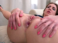 He was licking her ass and twat, to make it nice and lubed for his massive cock. Her asshole was stretched wide by her man's giant penis. Look at how her butthole is gaped wide and filled up with hot sticky cum.