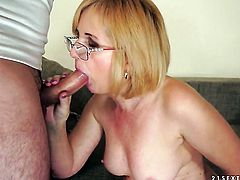 Blonde is on the way to the height of pleasure with her mans rod in her mouth