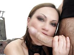Brunette with gigantic hooters attracts mens attention with her fuckable bum