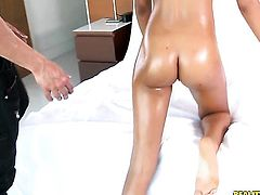 Marco Banderas pops out his schlong to fuck hot bodied Rhianna Royces throat