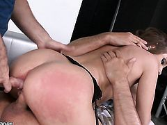 Brunette does lewd things with horny fuck buddy