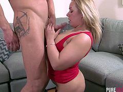 Curvy blonde wife with a big ass enjoys being drilled hard by her husband. Horny gal with big tits gets her wet pussy licked and gives a fantastic blowjob.