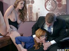 two sexy babes seduce their well endowed boss