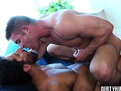 Muscle gay anal sex and cum swap