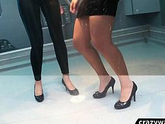 Wetlook girls dancing in the shower room 6