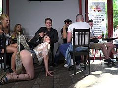 Stella Cox dreamed of gangbang with strangers and the dominant couple fulfilled her wish. She was tied-up and offered as a free gift to a group of horny guys. They fucked and humiliated her, but she licked the new experience. Hardcore gangbang in public!!!