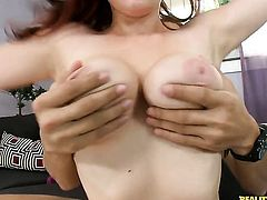 Redhead with huge breasts and clean twat has some dirty sex fantasies to be fulfilled in cumshot action