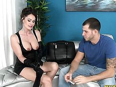 Brunette Nora Noir with giant boobs is horny as hell and sucks dudes rock hard sausage with wild desire