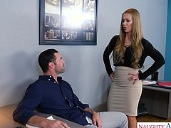 Nicole has been working on a project with Charles, and he seems so smug about his contributions to the work. She decided to see, if he could do something for real, so she hiked up her dress and told him to eat her out and fuck her. He gladly obliged.